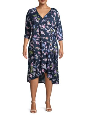 Terra & Sky Women's Plus Size Floral Printed Wrap Dress with Ruffle Detail