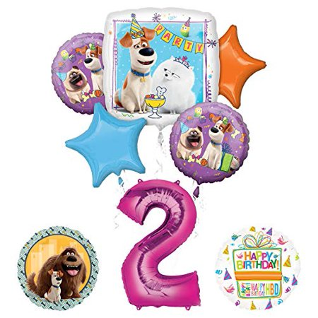 Mayflower Products Secret Life of Pets Party Supplies 2nd Birthday Balloon Bouquet Decorations - Pink Number 2 - Palace Pets Birthday Party