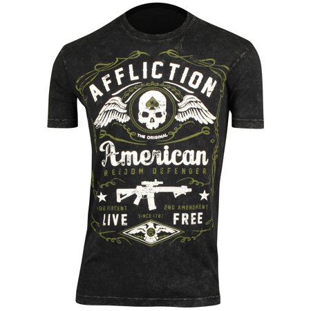 Affliction Mens American Defender T-Shirt - Black Lava (Affliction Tee Shirts)