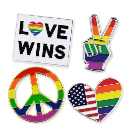 PinMart's Gay Pride Rainbow Flag Love Wins LGBT Enamel Lapel Pin Set (2005 Lapel Pin)