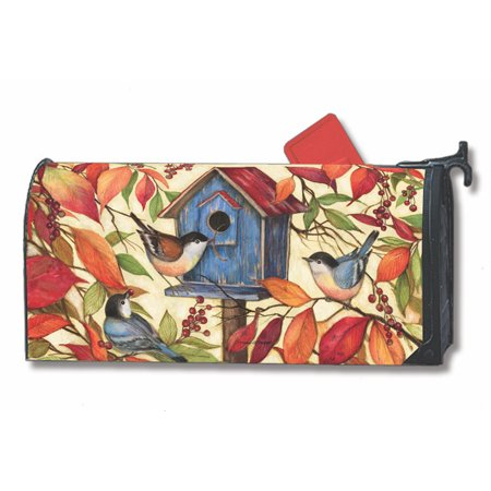 Welcome Neighbors Fall Magnetic Mailbox Cover Birds Autumn Leaves