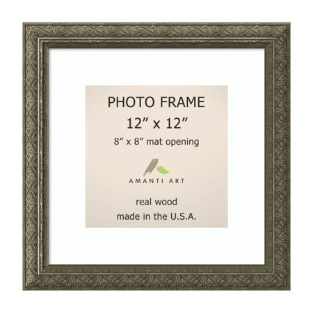 Amanti Art Barcelona Pewter Photo Frame 12x12, Matted to 8x8 14 x 14-inch