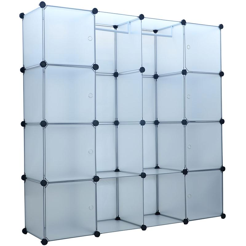 HomCom Extra Wide Modular Portable Storage / Clothes Closet w/ 8 Enclosed Cubes