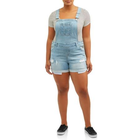 2c2cf13fb Wax Jean - Juniors' Plus Size Destructed Shortalls - Walmart.com
