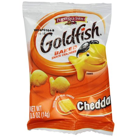 Rebels Snack - 100 PACKS : PEPPERIDGE FARM Goldfish Snack Crackers, Cheddar Cheese, 0.5-Ounce Single Serve Packages