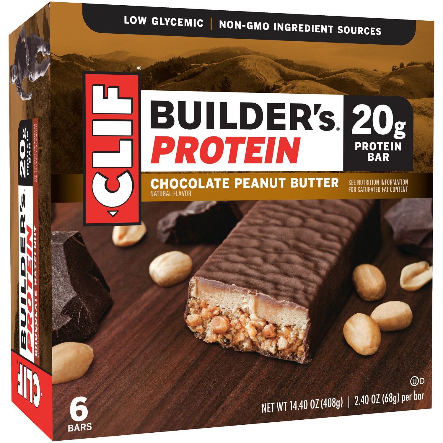 Clif Builder's Protein Bar, Chocolate Peanut Butter, 20g Protein, 6 Ct
