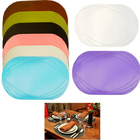 2 Piece Vinyl Placemat Kitchen Home Decor Table Protection Oval Round Mat New - Raffia Table Mats