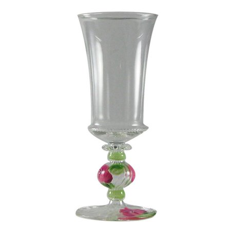 - Set of 2 Pink Peony Floral Mouth Blown Hand Painted Wine Goblets 7.75