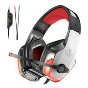 Gaming Headset for PS4, Xbox One, PC, Controller, Noise Cancelling Over Ear Headphones with Mic, LED Light Bass Surround Soft Memory Earmuffs for Computer Laptop Mac NS 3DS Mobilephones
