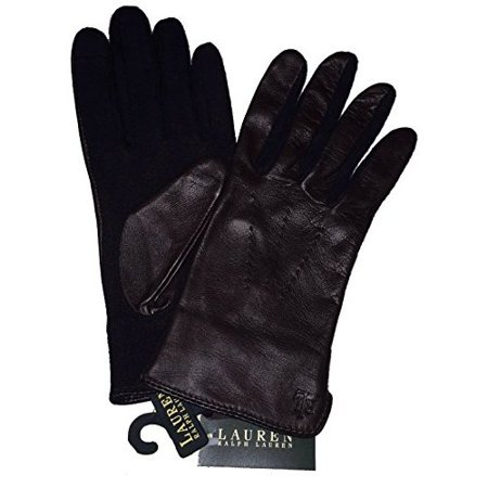 Lauren Ralph Lauren Brown Leather & Wool The Touch Gloves (Ralph Lauren Polo Leather Gloves)
