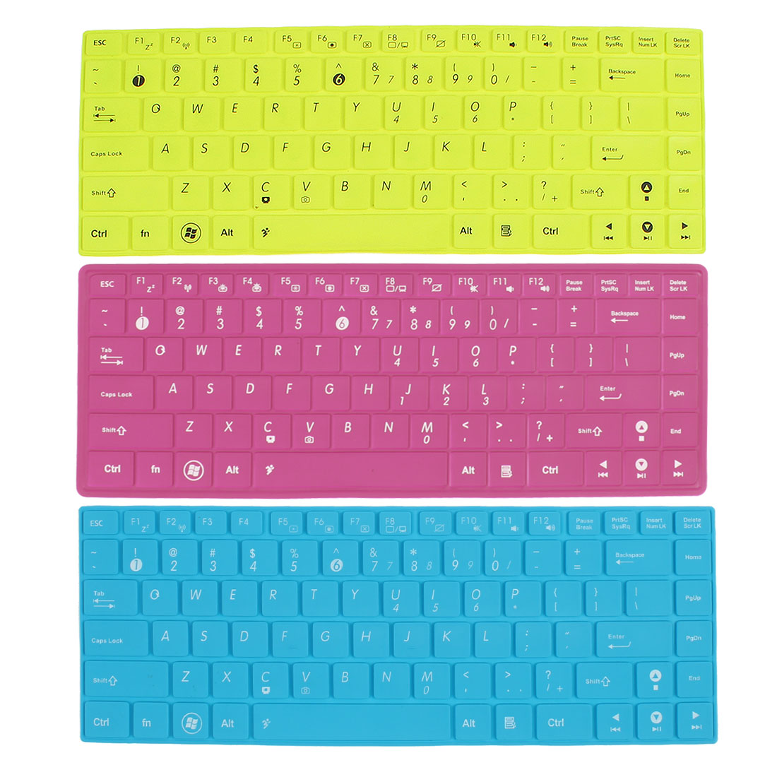 Unique Bargains 3 x Notebook Keyboard Silicone Film Skin Guard Fuchsia Green Blue for ASUS 14""