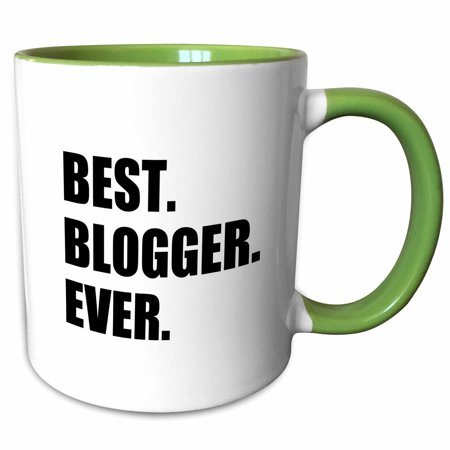 3dRose Best Blogger Ever - blogging job pride - blog writer hobby career gift - Two Tone Green Mug,