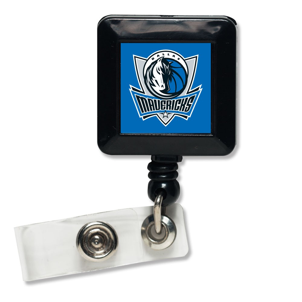 Dallas Mavericks Official NBA 1 inch x 1 inch  Retractable Badge Holder Key Chain Keychain by WinCraft