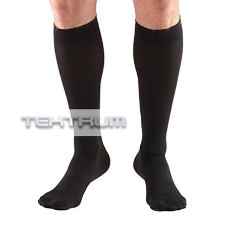 Tektrum (1 pair) Knee High Firm Graduated Compression Socks Stockings 23-32mmHg for Men Women -for Nurses, Maternity Pregnancy, Running, Sports, Flight Travel - Closed Toe, Black, Large US/X-Large EU