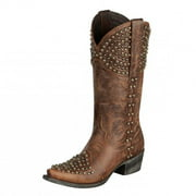 Lane Western Boots Womens Rock On Brass Stud Cowgirl Chestnut LB0201A