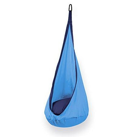 Image of Kids Hanging Hammock Pod Swing Chair Complete Set - Light Blue