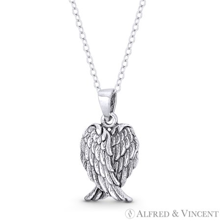 Angel's Wings w/ Feathers Charm Pendant & Chain Necklace in Oxidized .925 Sterling Silver