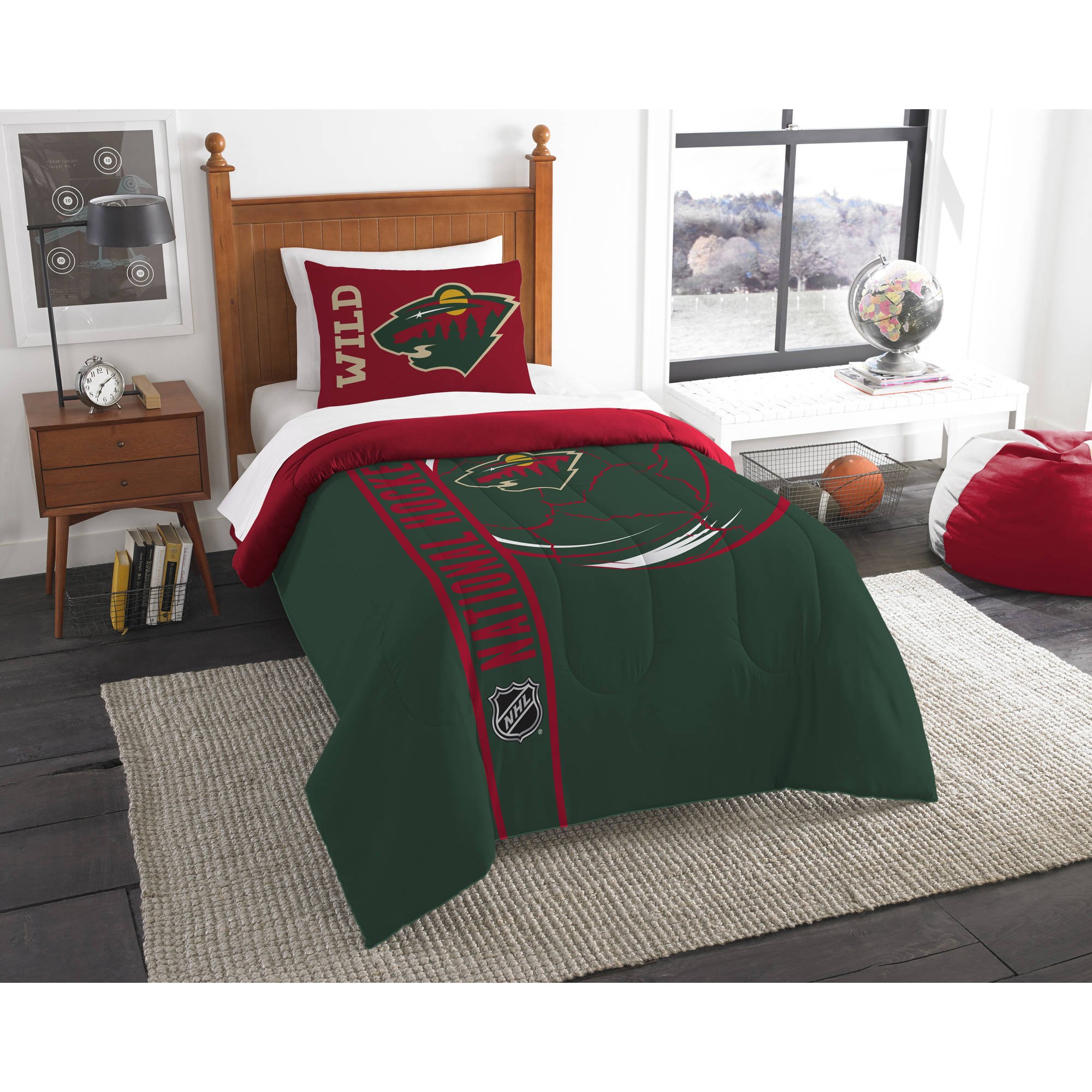 NHL Minnesota Wild Printed Twin Comforter and Sham Set