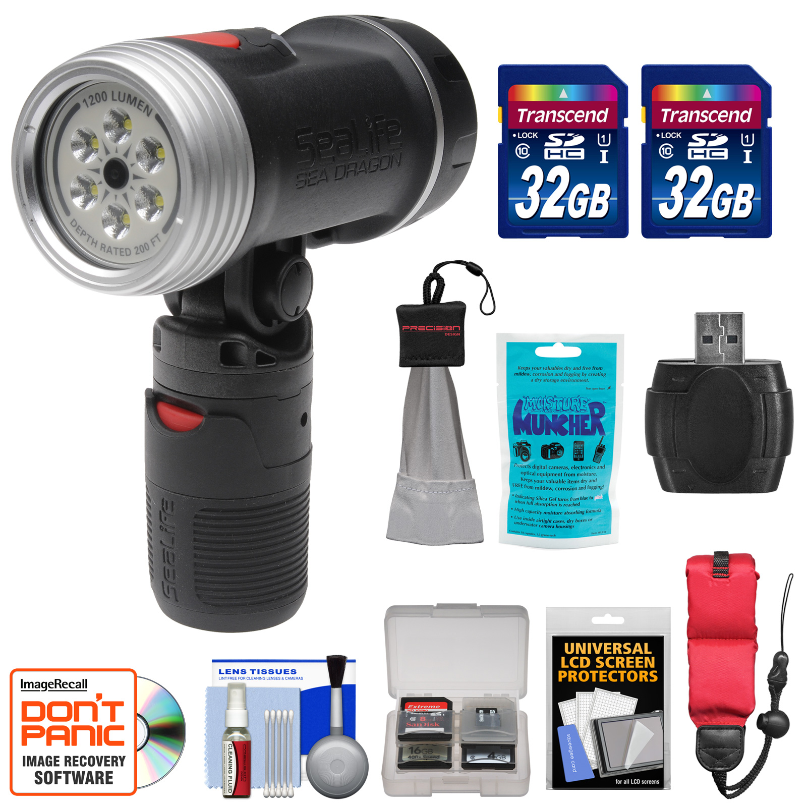 SeaLife SL985 Sea Dragon 1200 Underwater Photo/Video Dive Light with Flex-Connect Handle with (2) 32GB Cards + Floating Starp + Silica Gel + Accessory Kit