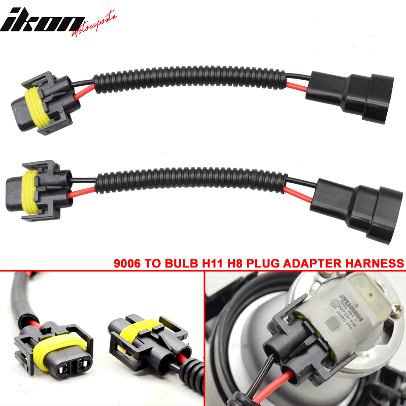 9006 bulb to h11 h8 hightlight fog light conversion wiring plug adapter harness Headlight Size Chart