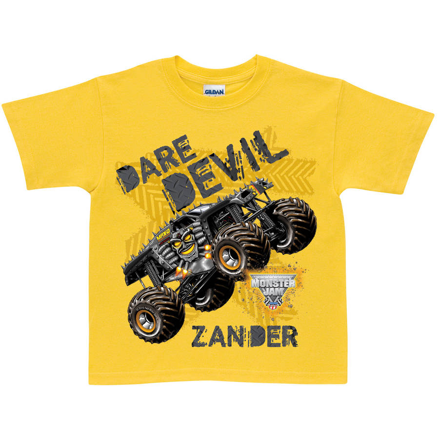 Personalized Monster Jam Max-D Dare Devil Toddler Boys' T-Shirt, Yellow