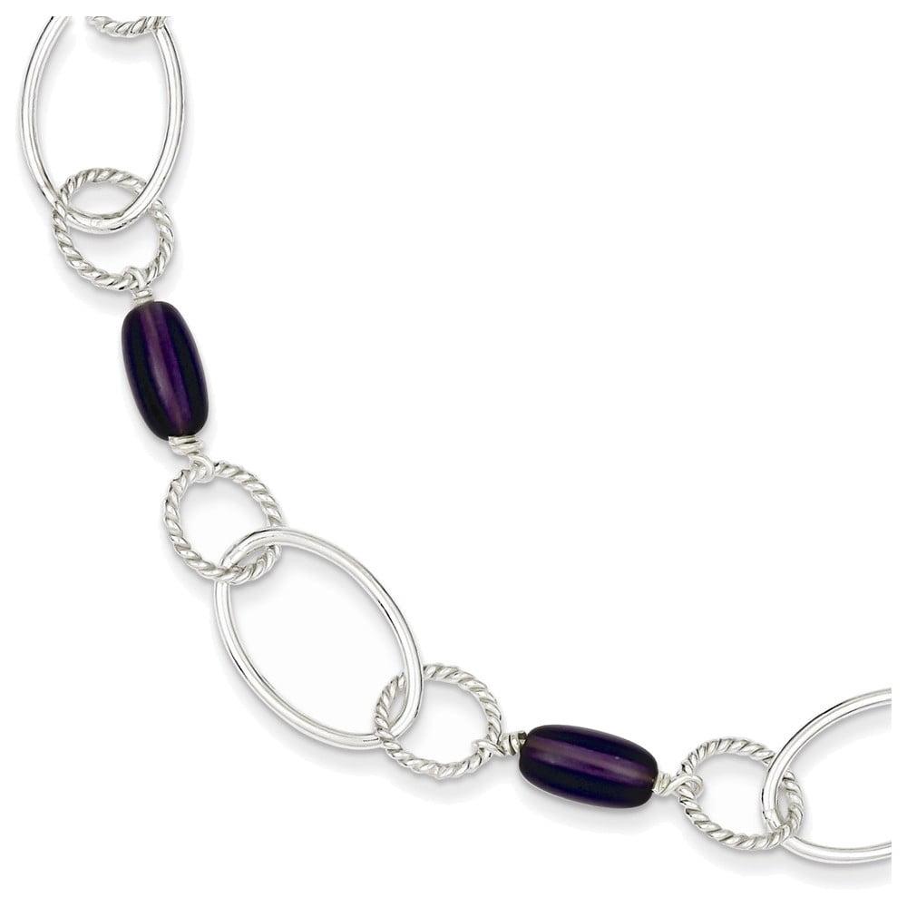 Sterling Silver Purple Crystal Fancy Link