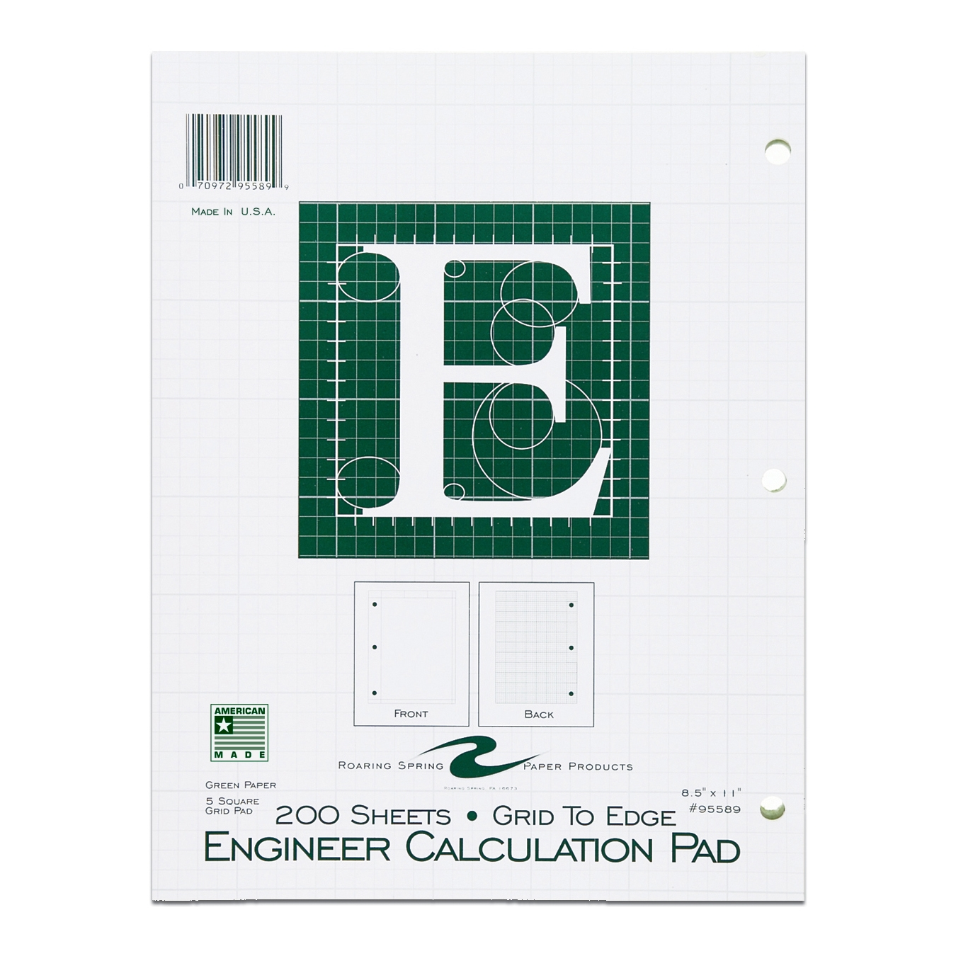 "ENGINEER PAD 8.5""x11"" GREEN PAPER GRID-TO-EDGE"