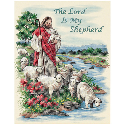 """Dimensions """"The Lord Is My Shepherd"""" Stamped Cross Stitch Kit, 11"""" x 14"""""""