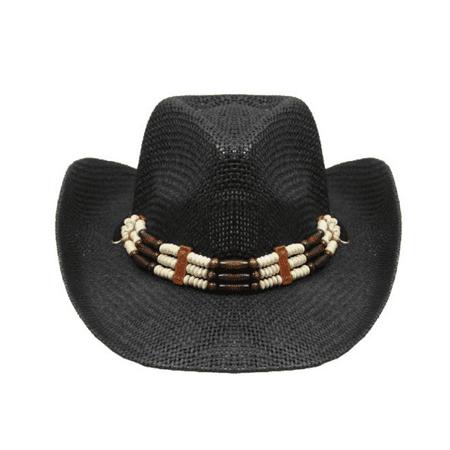 BLACK COWBOY Straw HAT with Beads Cowboy Cowgirl Men or Women Lightweight Western Hat Farmer Straw Cowboy Hat Hats