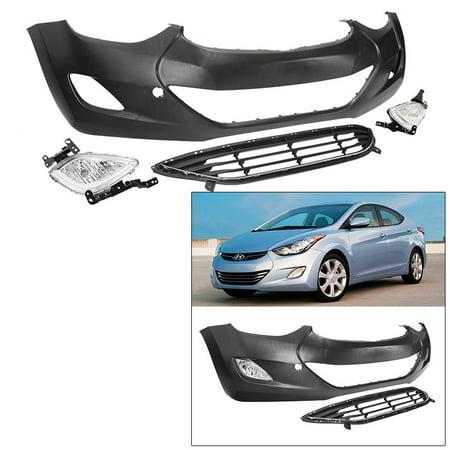 For 11-13 Hyundai Elantra Sedan Front Bumper Cover Kit with Grille Fog Lights - Front Bumper Grille