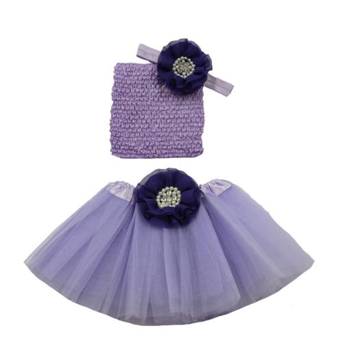 Girls Purple Pearl Flower Tutu Skirt Headband Set 0-8Y