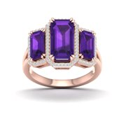 Imperial Gemstone 10K Rose Gold Emerald Cut Amethyst 1/5 CT TW Diamond Three Stone Halo Women's Ring