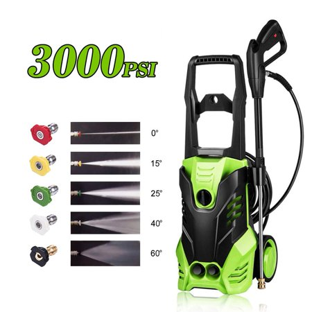 3000 PSI Electric Pressure Washer Power Washer 1800W Rolling Wheels High Pressure Washer Cleaner Machine with 5 Nozzles, 1.7 GPM