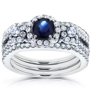 Annello 14k White Gold 1 2/5ct TCW Sapphire and Diamond 3 Piece Bridal Rings Set (G-H, I1-I2) Size 4.5