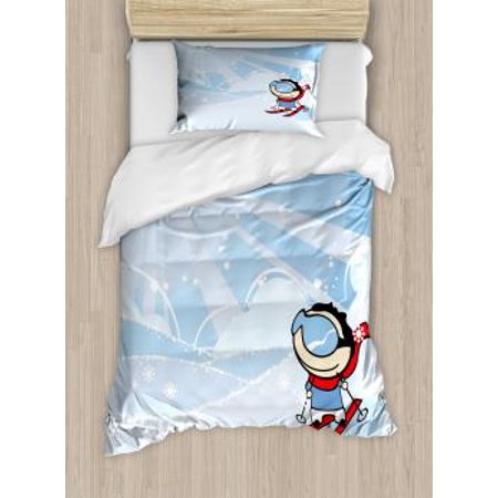 Kids Sports Twin Size Duvet Cover Set, Cute Boy Skiing on the Mountain with Snowflakes and Sunshine Nursery Playroom, Decorative 2 Piece Bedding Set with 1 Pillow Sham, Multicolor, by Ambesonne ()