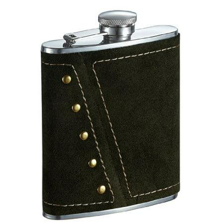 Visol Mission Dark Olive Colored Suede Liquor Flask - 6 ounce - image 1 de 1