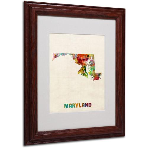 "Trademark Fine Art ""Maryland Map"" Matted Framed Art by Michael Tompsett, Wood Frame"