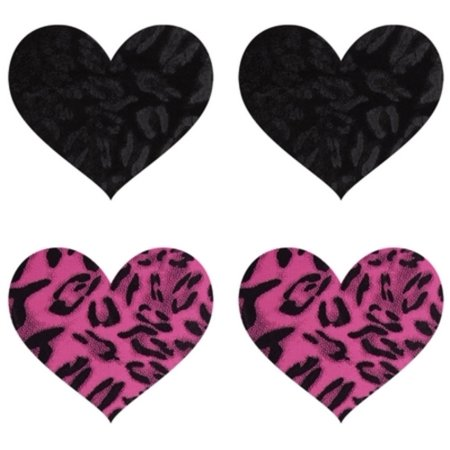 Hot Pink/Black Wildcat Heart Pasties Baci Lingerie PK009H Hot Pink/Black Hot Pink/Black Wildcat Heart Pasties Baci Lingerie PK009H Hot Pink/Black