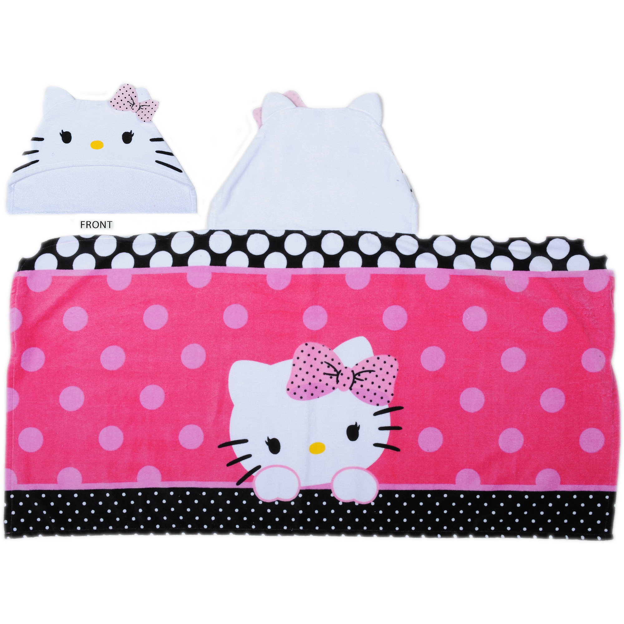 Hello Kitty Dots J'Adore Hooded Towel Wrap