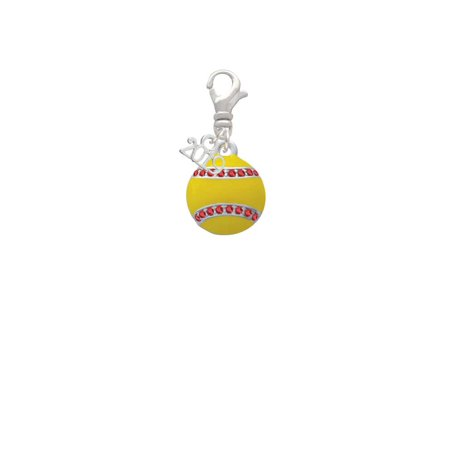 Silvertone Optic Yellow Softball with Red Crystal Stitching - 2019 Clip on Charm (Softball Charms)