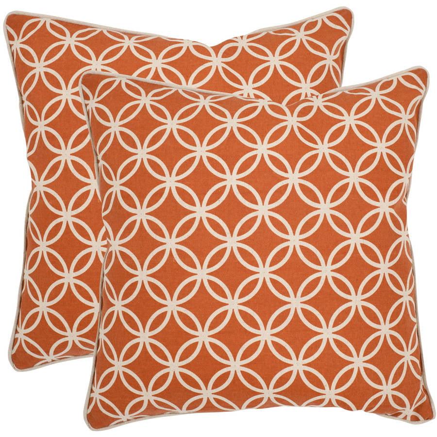 "Safavieh Alice 18"" x 18"" Brown Pillow, Set of 2"