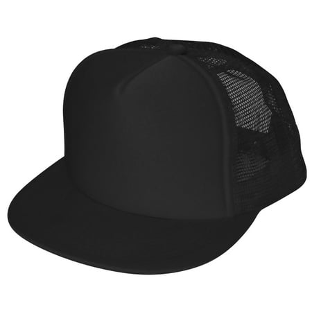 DALIX Classic Trucker Cap Flat Bill Adjustable Snapback 5 Panel Plain Hat Black