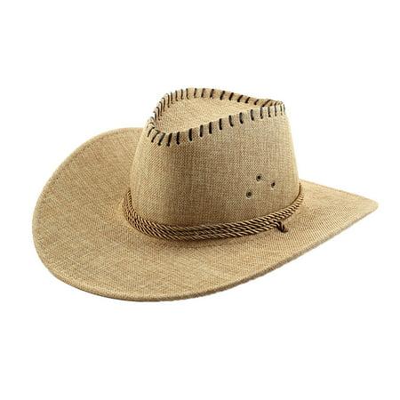 men linen adjtable neck strap wide brim western style sunhat cowboy hat - Cowboy Hat For Sale