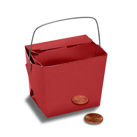 Chinese Food Box (Red Metallic Medium 4 x 3-1/2 x 4 inches Colored Paper Chinese Take Out Food Favor Boxes, 24)