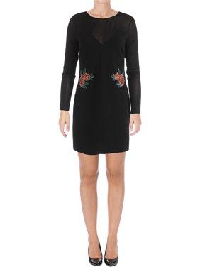 Material Girl Womens Juniors Illusion Sheath Party Dress Black L