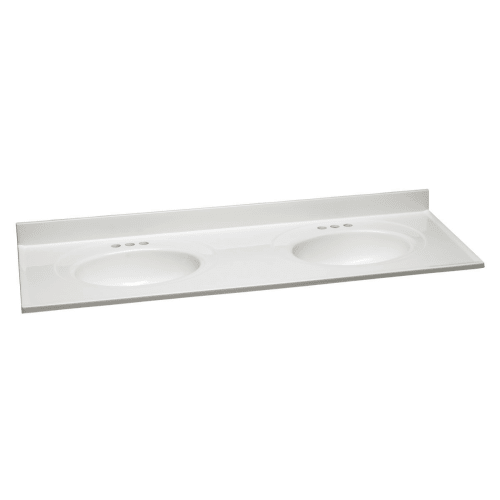 """Design House 553313 61"""" Vanity Top with Double Bowl from the Cultured Marble Series"""