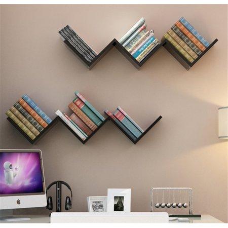 EECOO Fashionable Creative Floating Wall Shelf Rack Organizer Hanging Bookshelf Home DecorBlack
