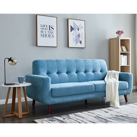 Blue Fabric Sofa Set, Mid Century Modern Sectional Sofa for Small Spaces,  Rolled-Arm Upholstered Sofas with Solid Wood Frame, Tufted Loveseat Sofa ...
