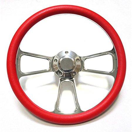 - Hot Rod Street Rod Rat Rod Truck Red & Chrome Steering Wheel & Horn