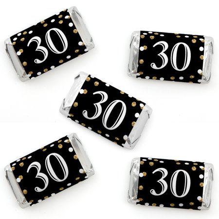 Adult 30th Birthday - Gold - Mini Candy Bar Wrapper Stickers - Birthday Party Small Favors - 40 Count